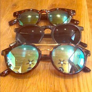 3 J CREW Sunglasses Mirrored Lens Tortoise Shell